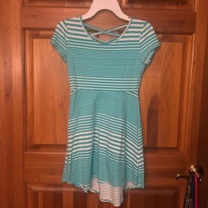 Teal Striped Skater Dress